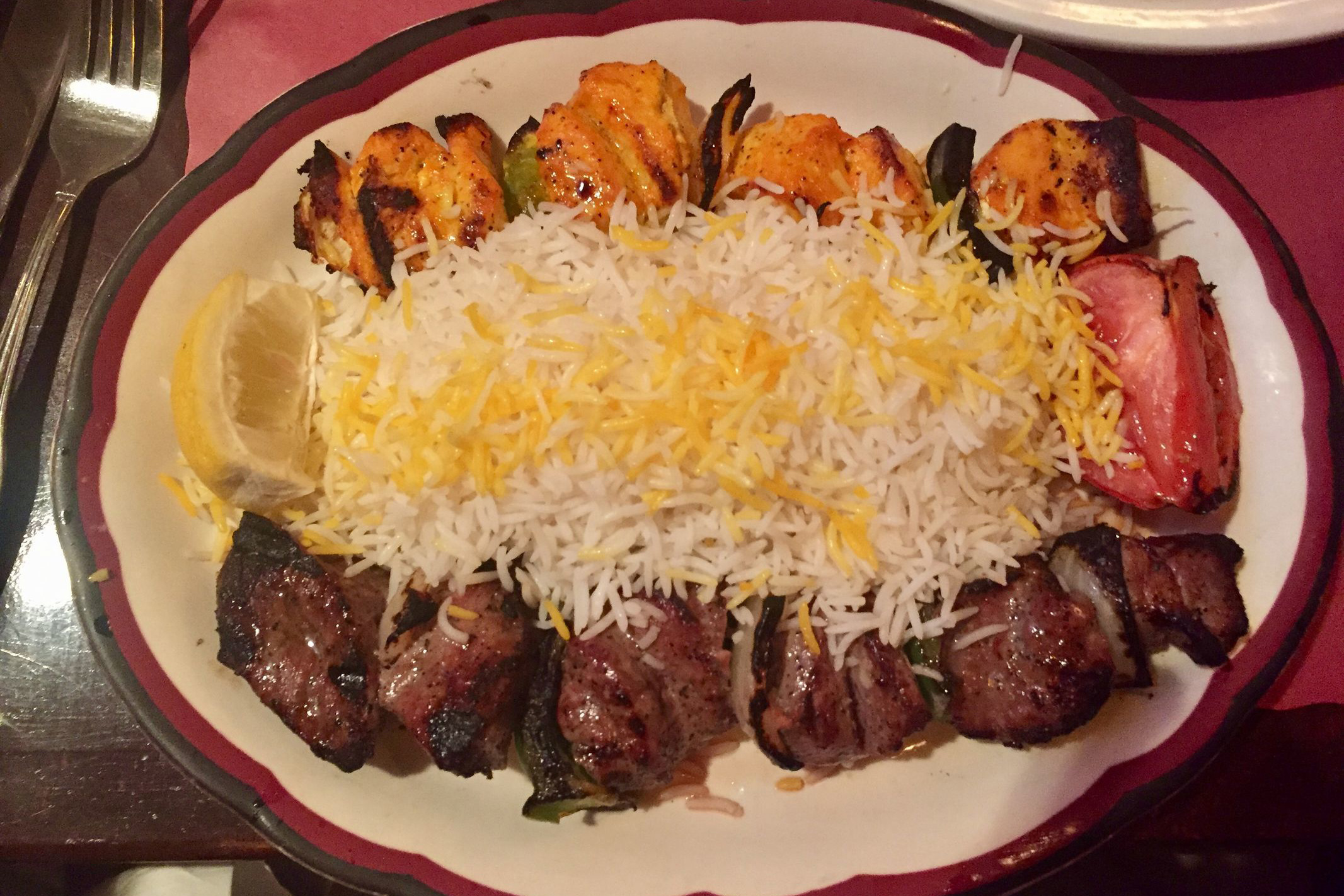 Kebab platter at the Persian Grill. (CRAIG LABAN / Staff)