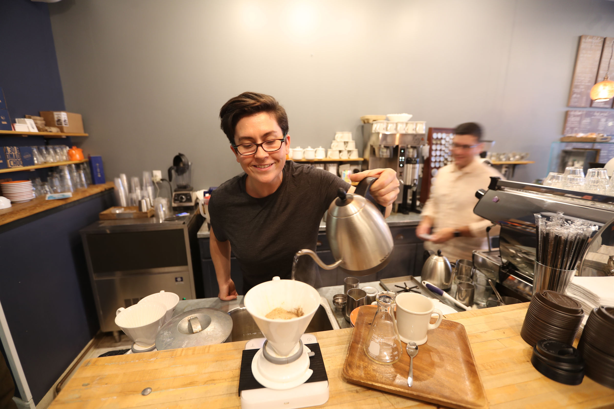 Barista Laura Czarnecki makes a pour over at Philter in Kennett Square.