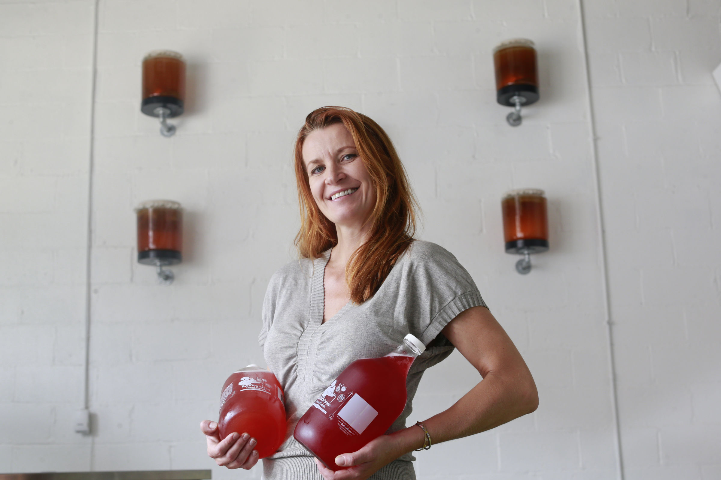 Olga Sorzano at her kombucha factory and tasting room at Baba's Brew in Phoenixville.