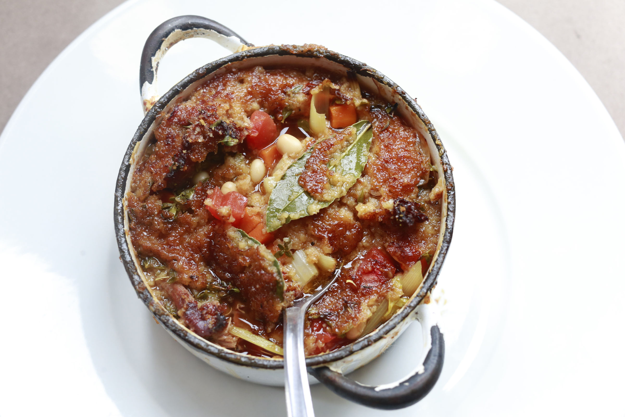 The lamb cassoulet crock at Majolica in Phoenixville.