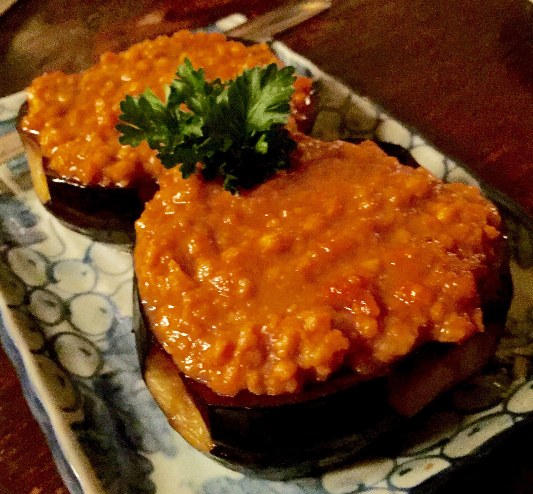The nasu shigiyaki (eggplant with chicken and fermented soy gravy) at Sagami in Collingswood. (CRAIG LABAN / Staff)