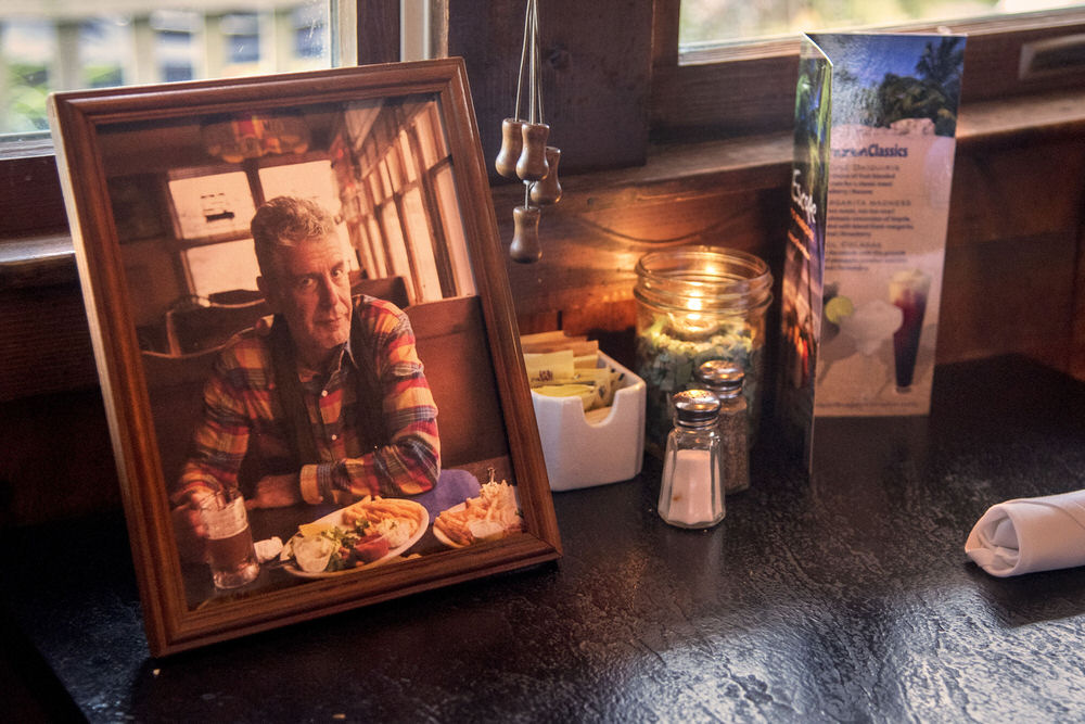 The booth where Anthony Bourdain ate with his brother is marked with a photo at Kubel's in Barnegat Light.