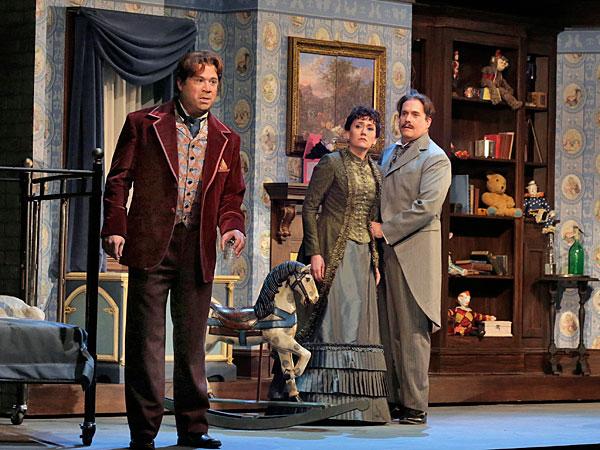 David Daniels (Oscar Wilde), Heidi Stober (Ada Leverson) and William Burden (Frank Harris).